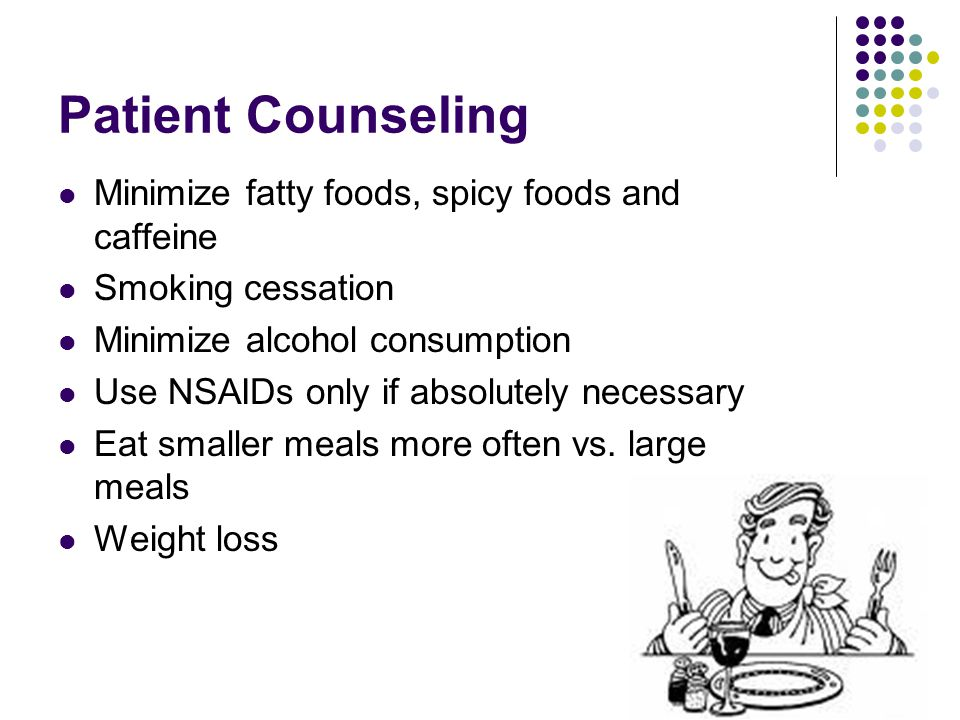 Patient Counseling Minimize fatty foods, spicy foods and caffeine