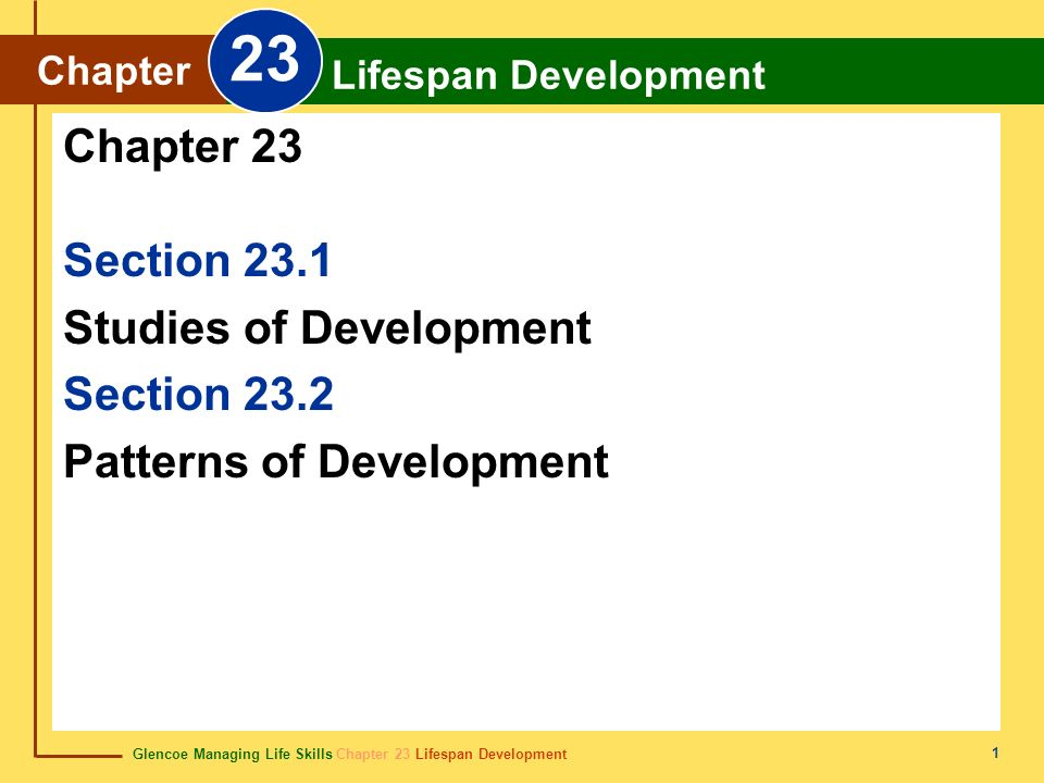 23 Chapter 23 Section 23.1 Studies of Development Section 23.2
