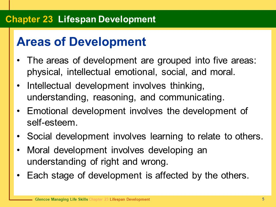 Areas of Development The areas of development are grouped into five areas: physical, intellectual emotional, social, and moral.
