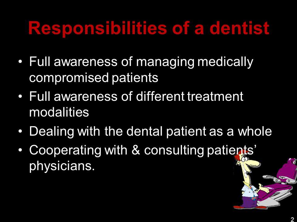 tasks of a dentist