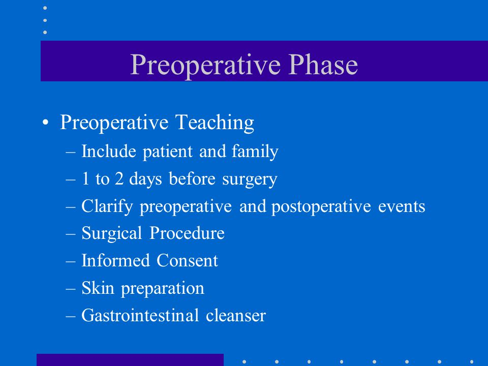 Preoperative Phase Preoperative Teaching Include patient and family