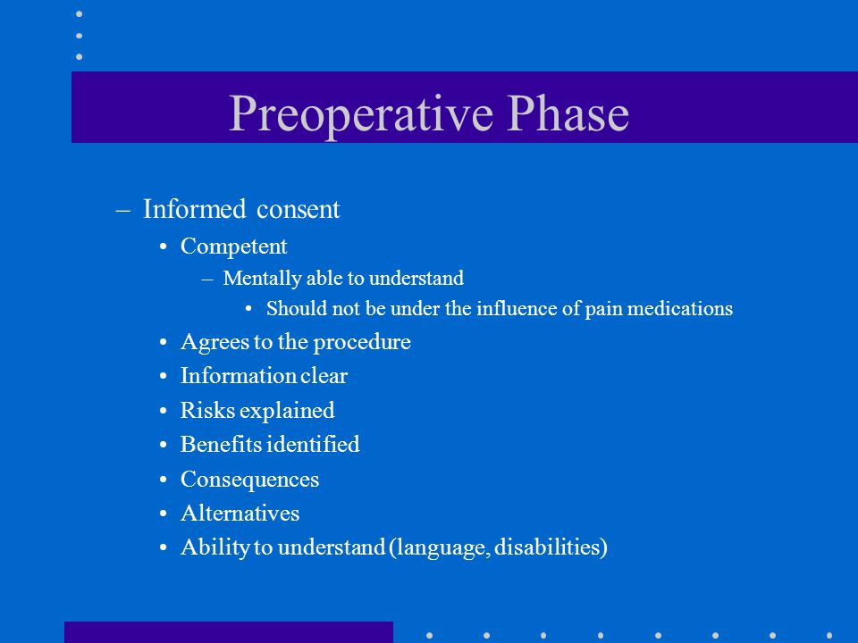 Preoperative Phase Informed consent Competent Agrees to the procedure