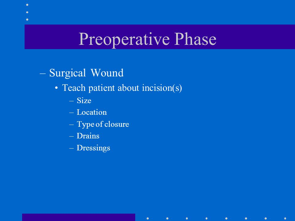 Preoperative Phase Surgical Wound Teach patient about incision(s) Size
