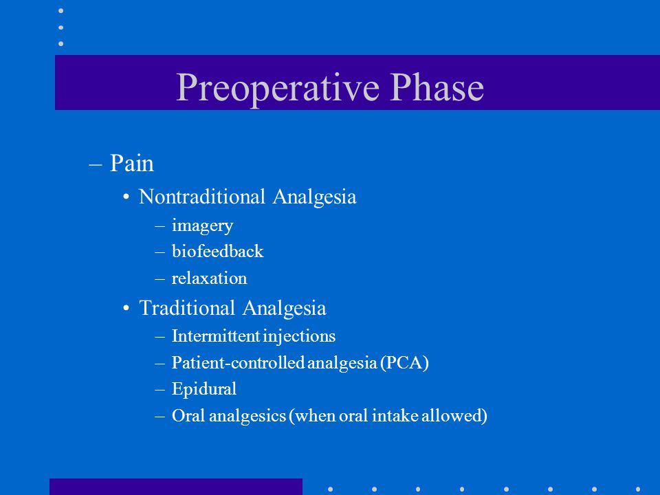 Preoperative Phase Pain Nontraditional Analgesia Traditional Analgesia