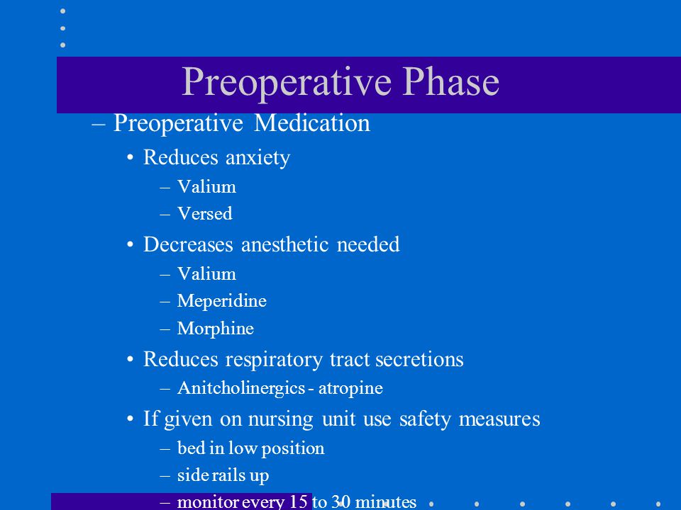 Preoperative Phase Preoperative Medication Reduces anxiety