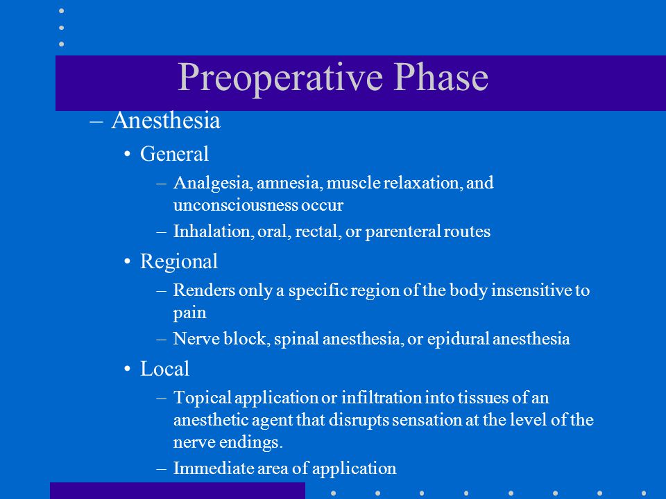 Preoperative Phase Anesthesia General Regional Local