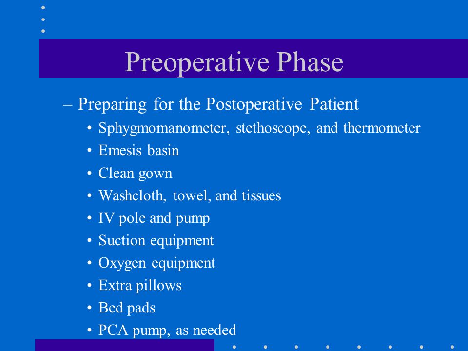Preoperative Phase Preparing for the Postoperative Patient