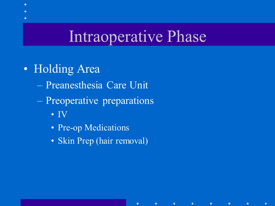 Intraoperative Phase Holding Area Preanesthesia Care Unit