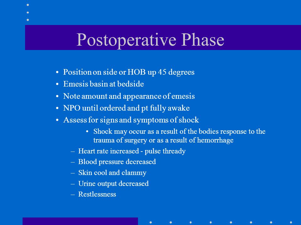 Postoperative Phase Position on side or HOB up 45 degrees
