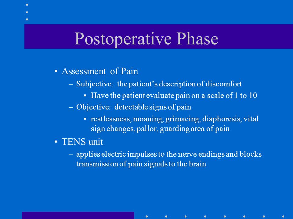 Postoperative Phase Assessment of Pain TENS unit