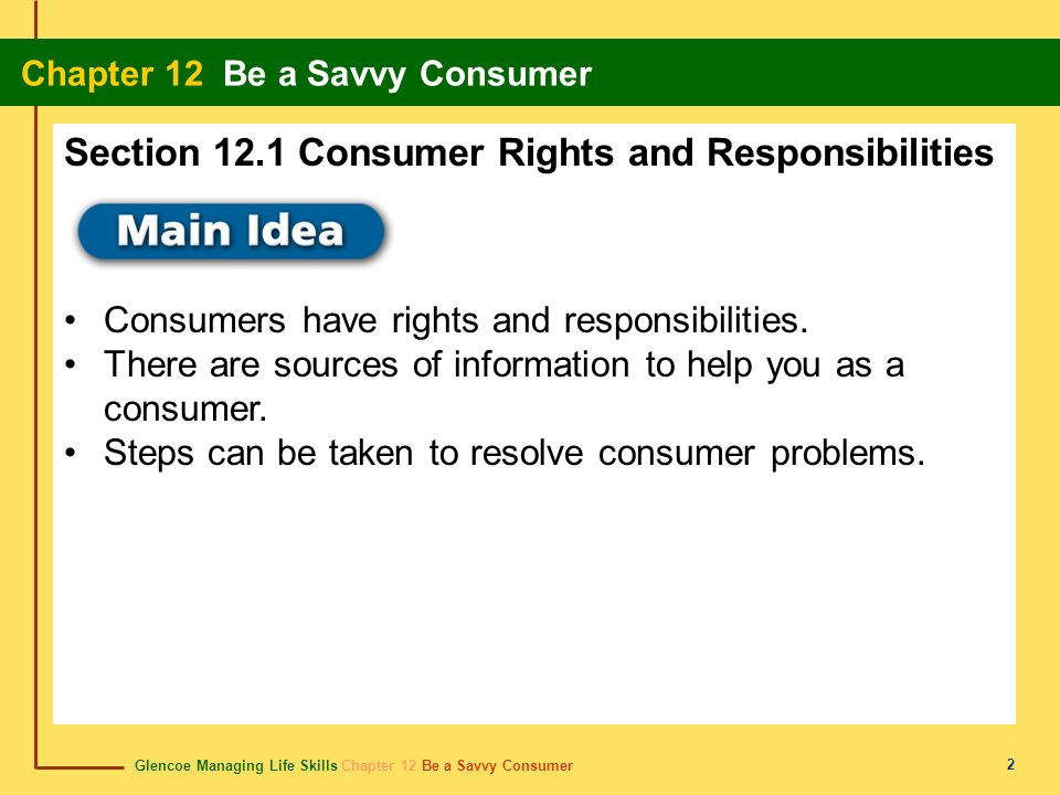 Section 12.1 Consumer Rights and Responsibilities