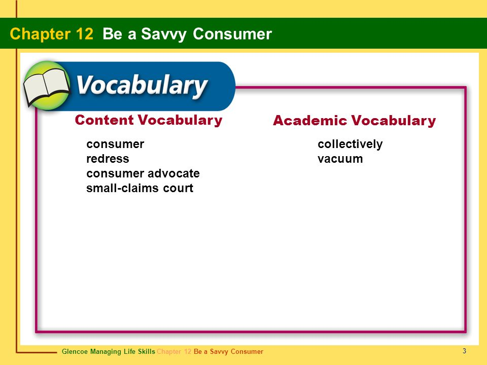 Content Vocabulary Academic Vocabulary consumer redress
