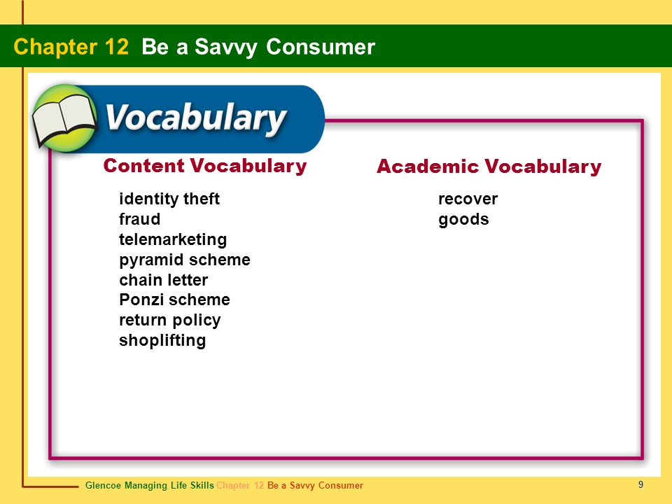 Content Vocabulary Academic Vocabulary identity theft fraud