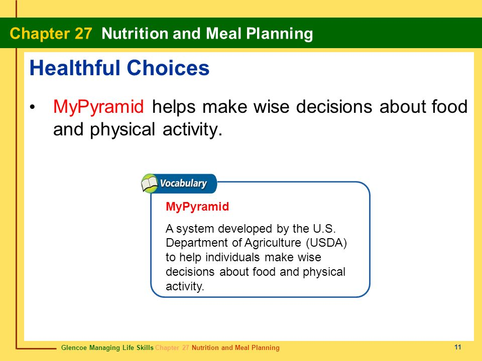 Healthful Choices MyPyramid helps make wise decisions about food and physical activity. MyPyramid.