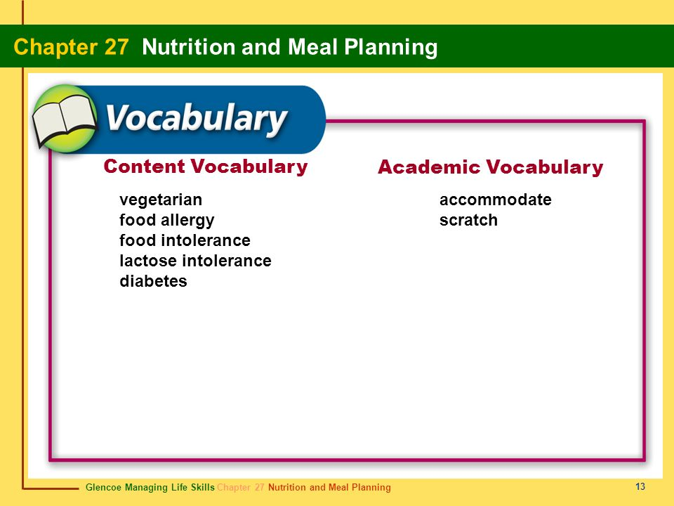 Content Vocabulary Academic Vocabulary vegetarian food allergy