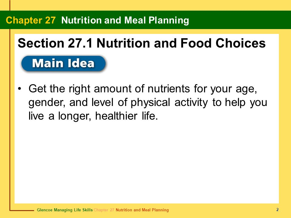 Section 27.1 Nutrition and Food Choices