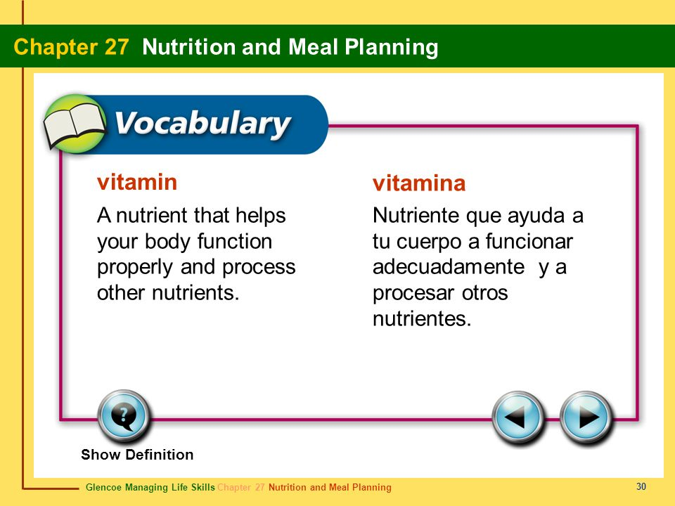 vitamin vitamina. A nutrient that helps your body function properly and process other nutrients.