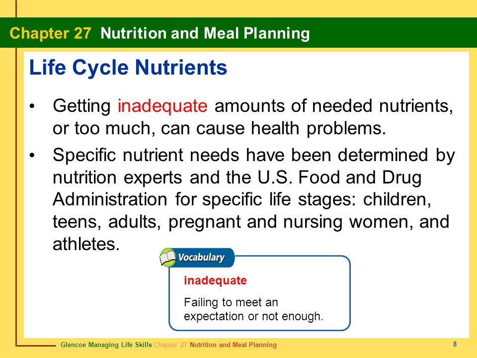 Life Cycle NutrientsGetting inadequate amounts of needed nutrients, or too much, can cause health problems.