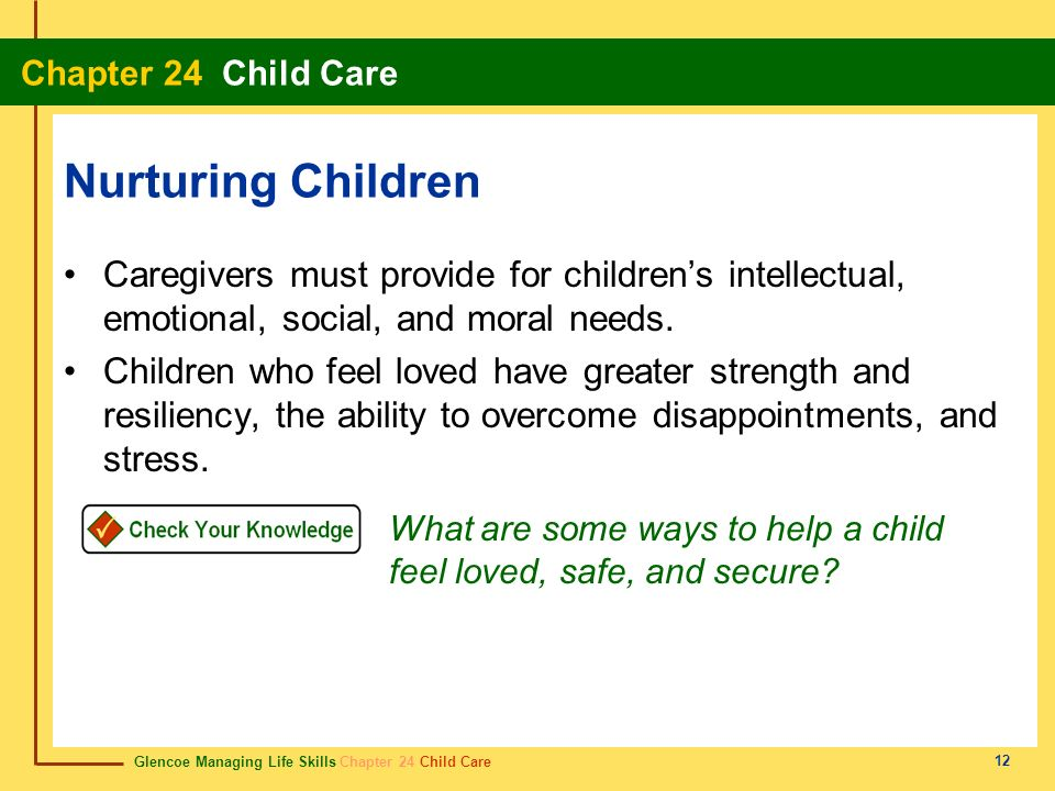 Nurturing Children Caregivers must provide for children's intellectual, emotional, social, and moral needs.