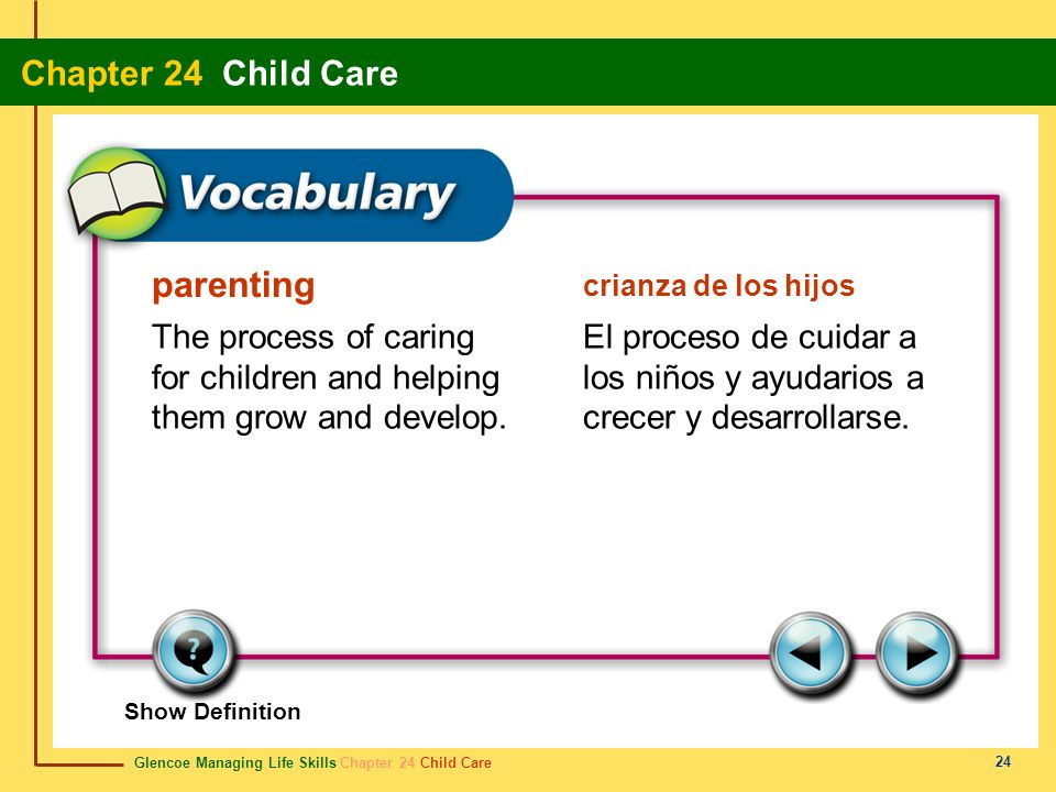 parenting crianza de los hijos. The process of caring for children and helping them grow and develop.