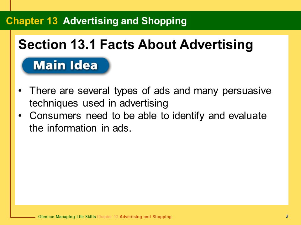 Section 13.1 Facts About Advertising