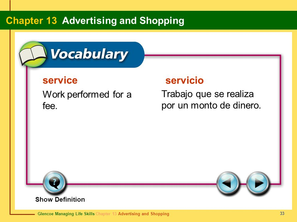 service servicio Work performed for a fee.