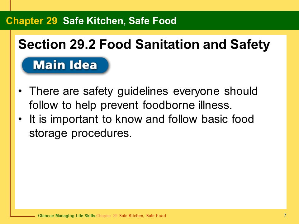 Section 29.2 Food Sanitation and Safety
