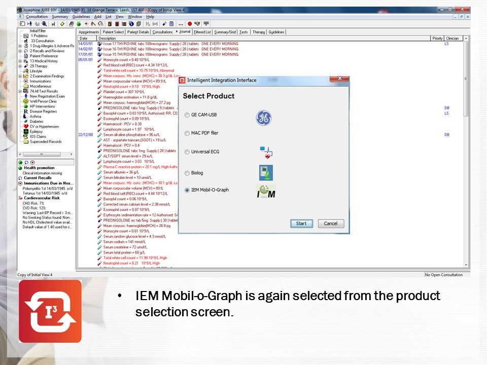 IEM Mobil-o-Graph is again selected from the product selection screen.