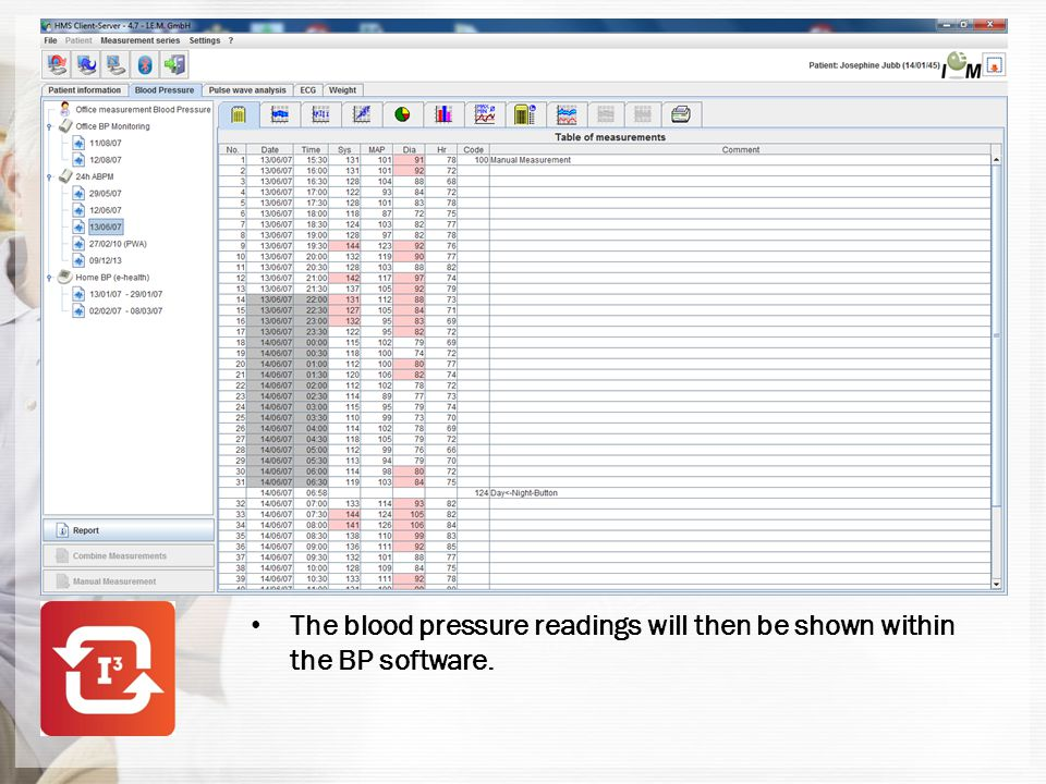 The blood pressure readings will then be shown within the BP software.