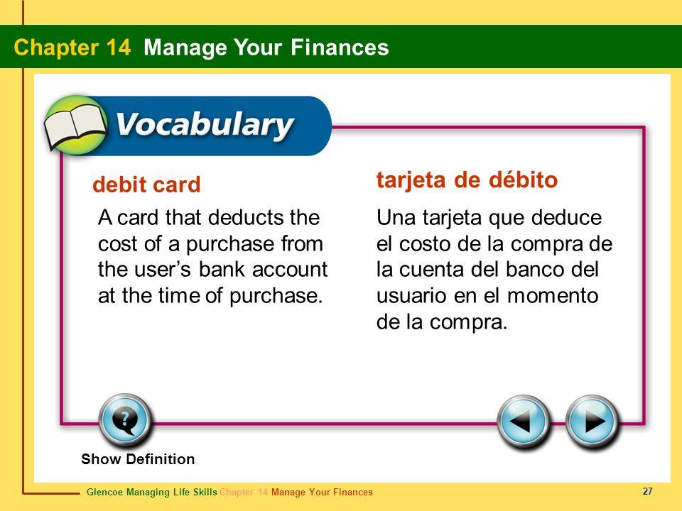 tarjeta de débito debit card