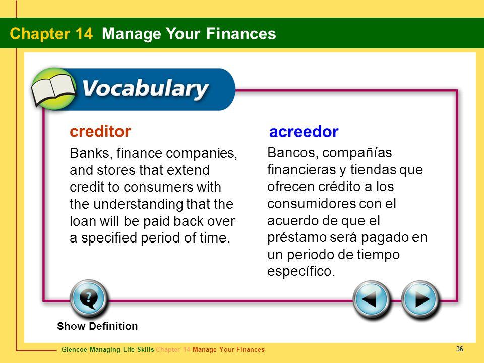 creditor acreedor.