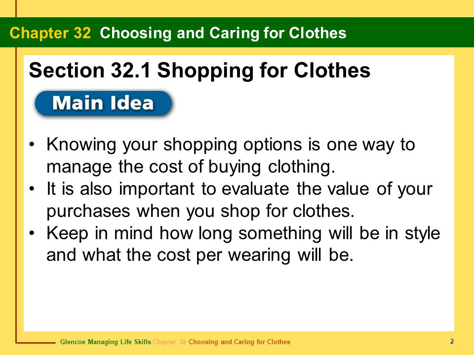 Section 32.1 Shopping for Clothes