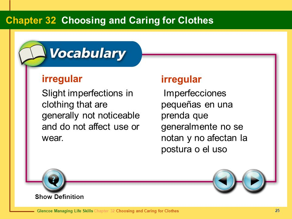 irregular irregular. Slight imperfections in clothing that are generally not noticeable and do not affect use or wear.