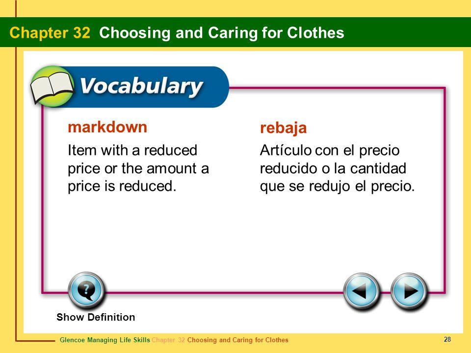 markdown rebaja. Item with a reduced price or the amount a price is reduced. Artículo con el precio reducido o la cantidad que se redujo el precio.