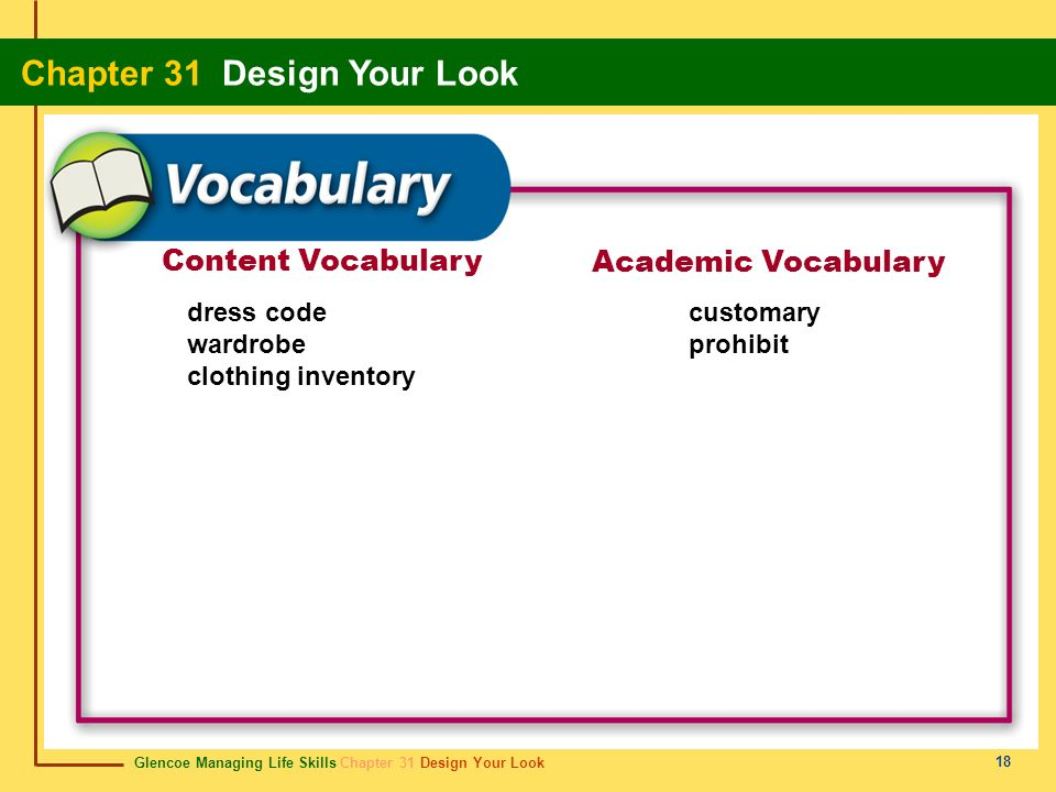 Content Vocabulary Academic Vocabulary dress code wardrobe