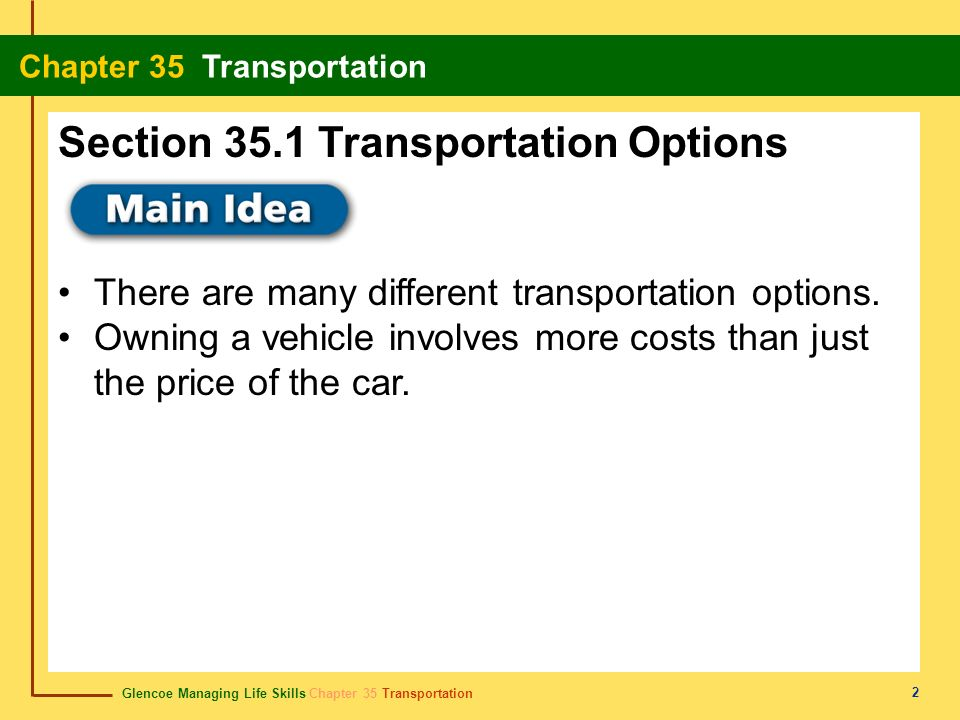 Section 35.1 Transportation Options