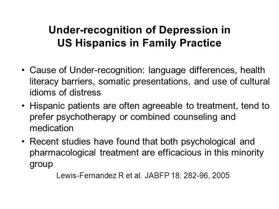 Under-recognition of Depression in US Hispanics in Family Practice