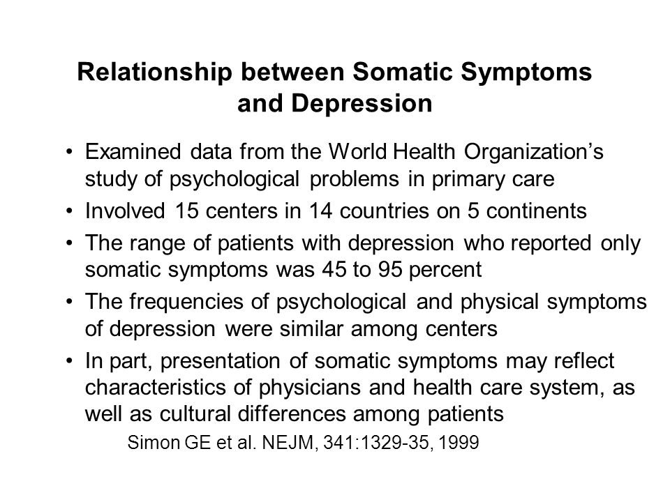 Relationship between Somatic Symptoms and Depression