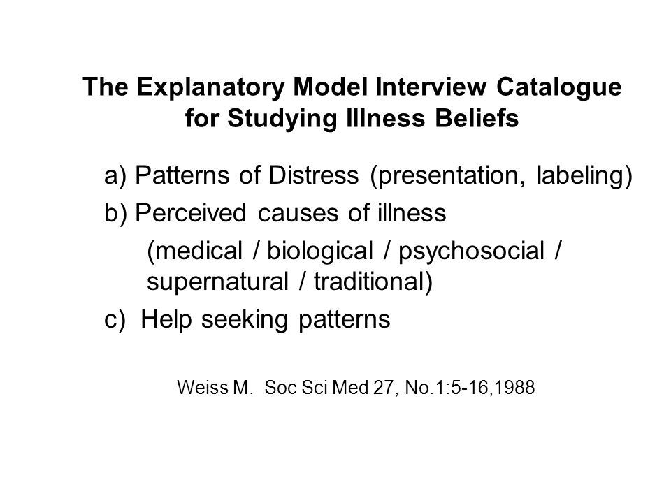 The Explanatory Model Interview Catalogue for Studying Illness Beliefs