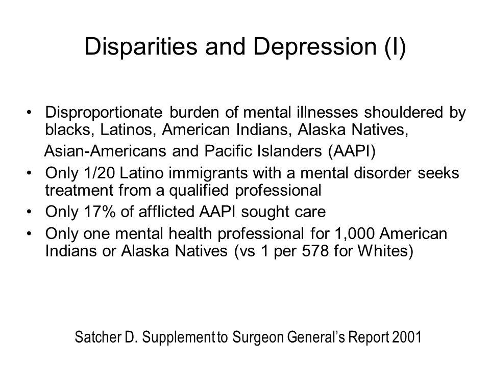 Disparities and Depression (I)
