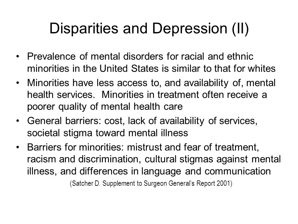 Disparities and Depression (II)