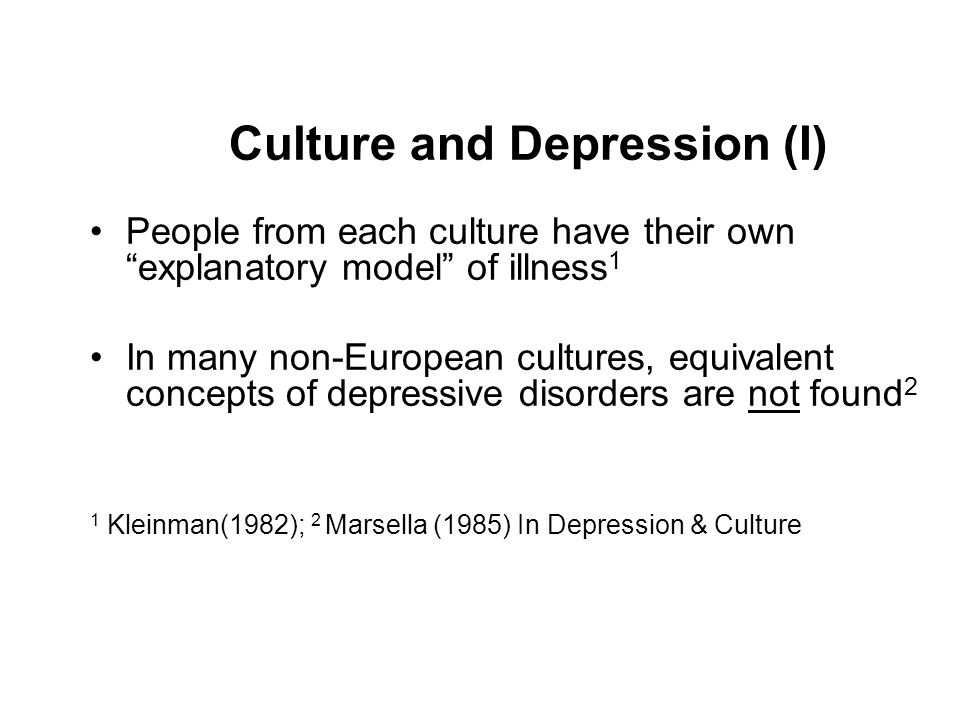 Culture and Depression (I)