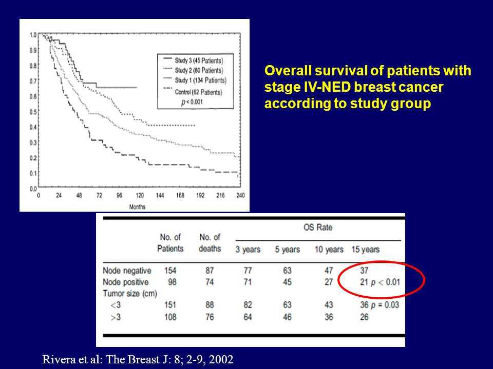 Overall survival of patients with stage IV-NED breast cancer according to study group