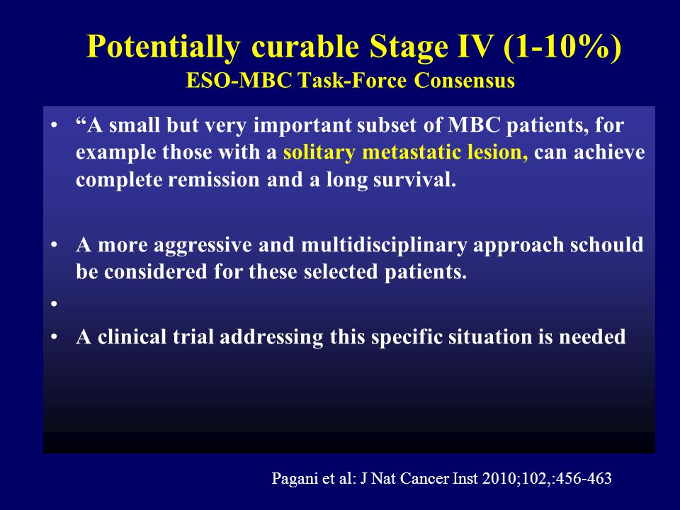 Potentially curable Stage IV (1-10%) ESO-MBC Task-Force Consensus