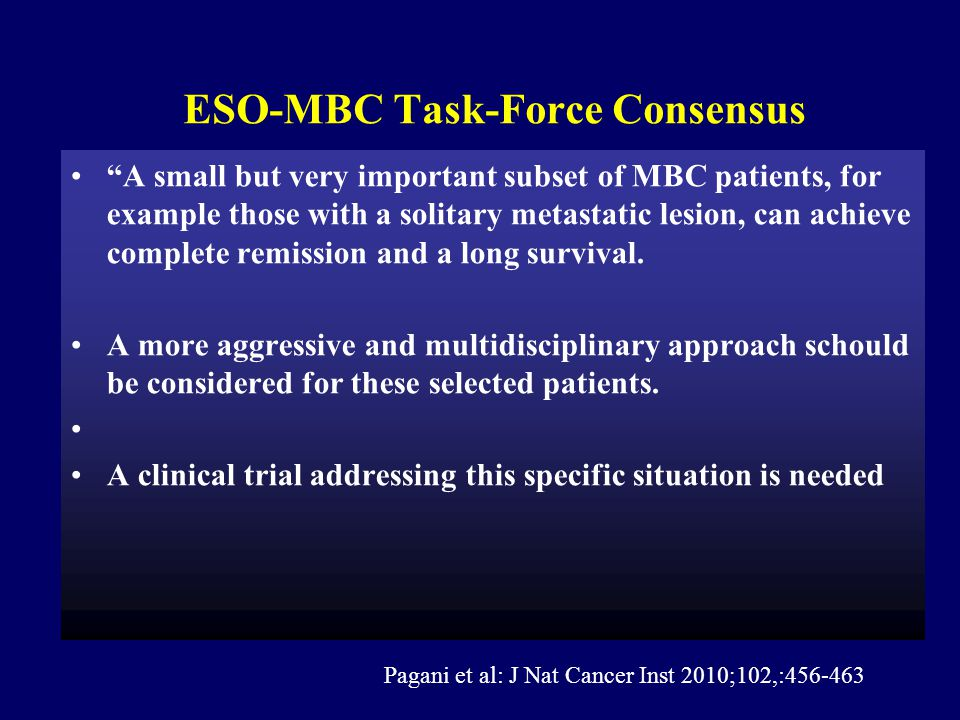 ESO-MBC Task-Force Consensus