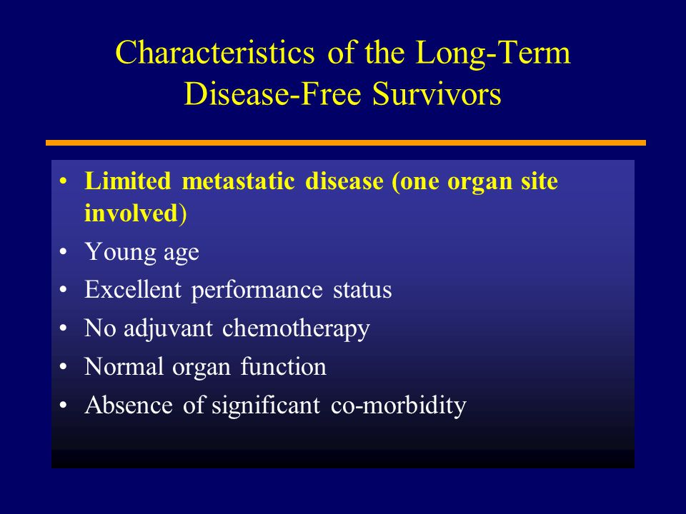 Characteristics of the Long-Term Disease-Free Survivors