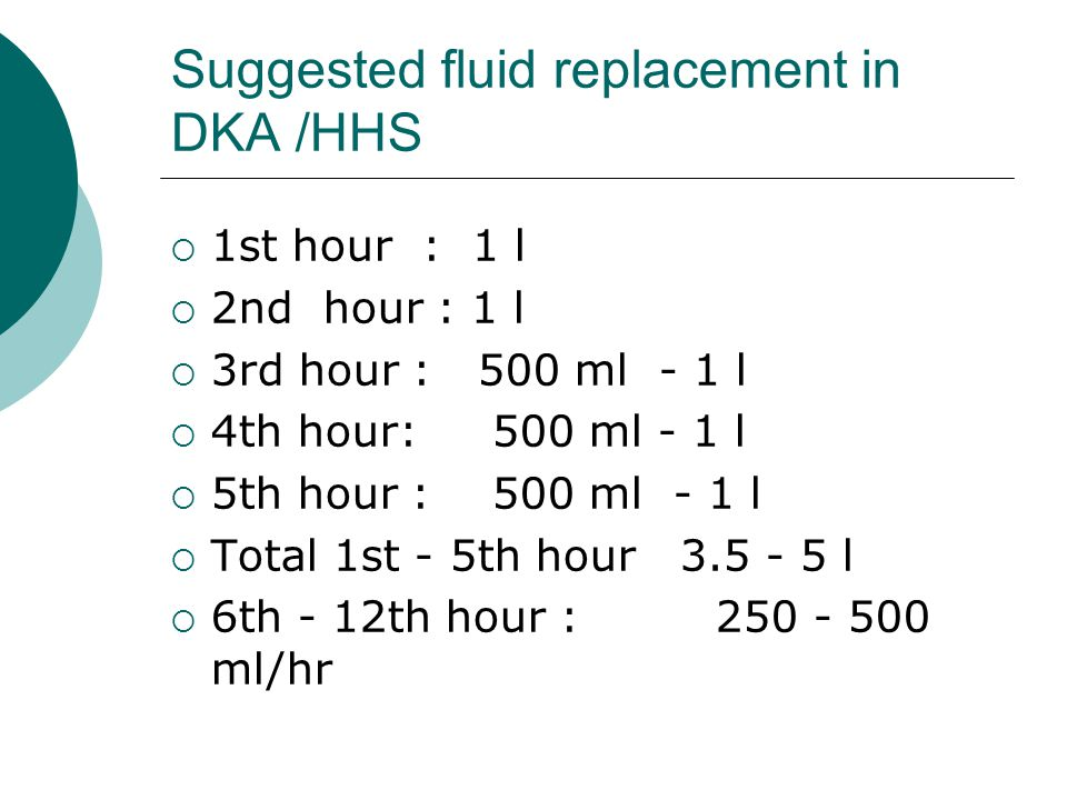 Suggested fluid replacement in DKA /HHS