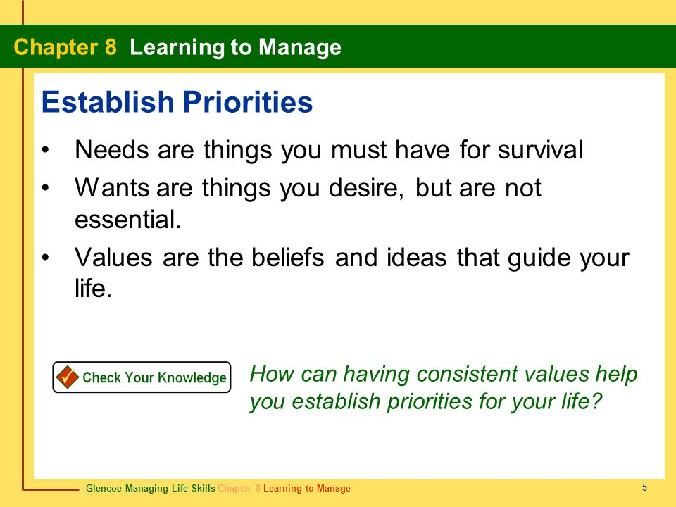 Establish Priorities Needs are things you must have for survival