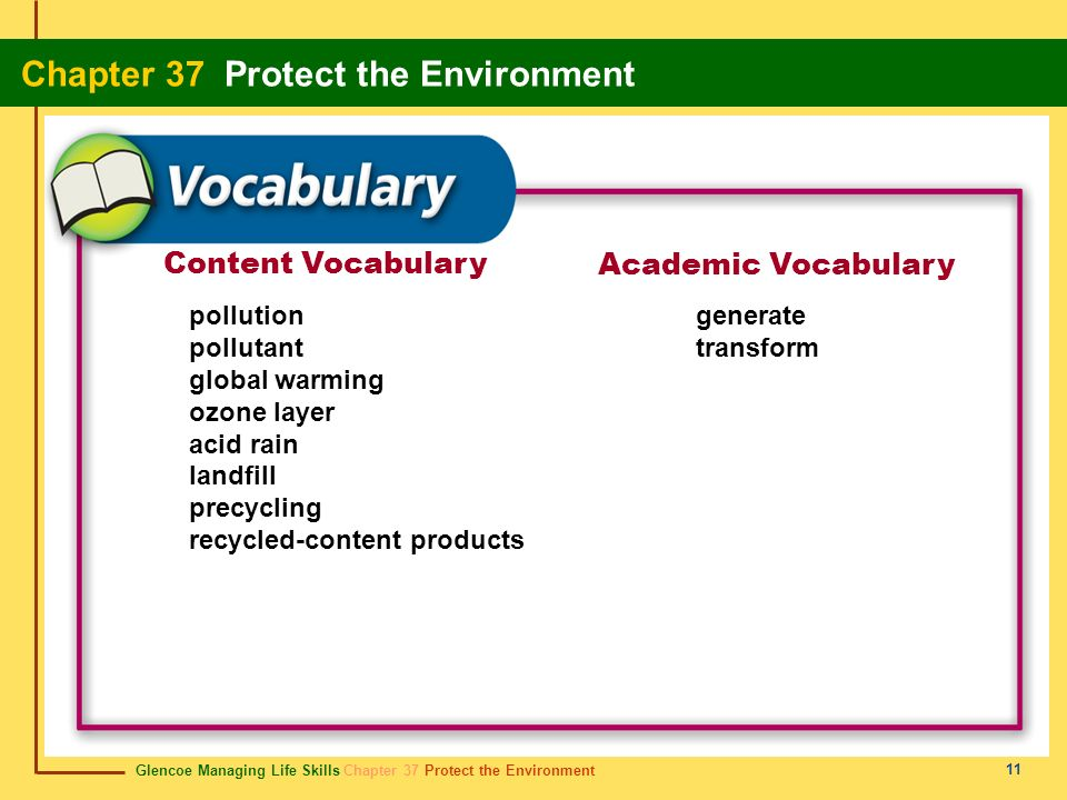 Content Vocabulary Academic Vocabulary pollution pollutant