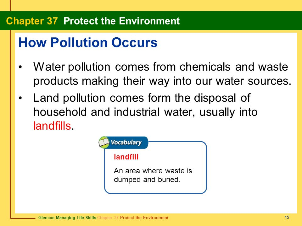 How Pollution Occurs Water pollution comes from chemicals and waste products making their way into our water sources.